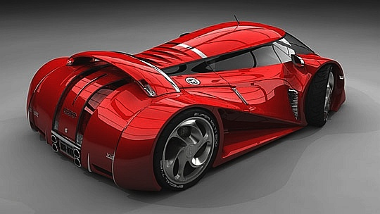 Outlandish red sports concept car
