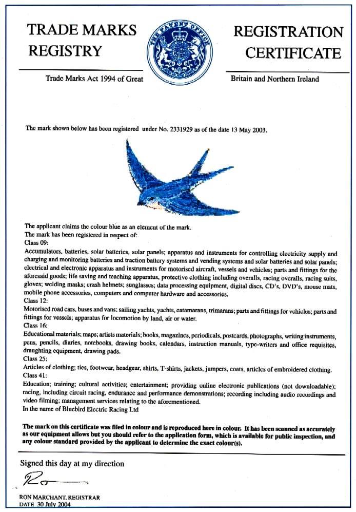 Bluebird Trademark Classes 9 12 16 25 41