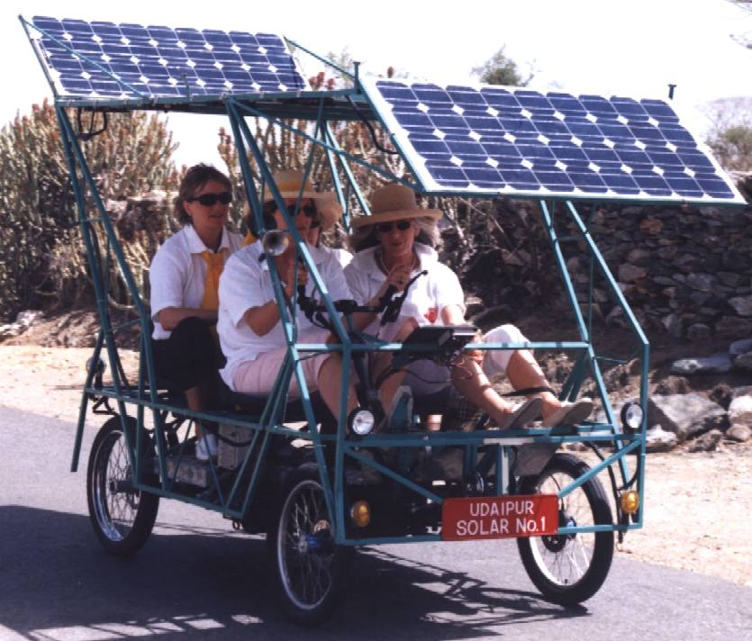 Solar powered four wheel rickshaw, practical but unattractive