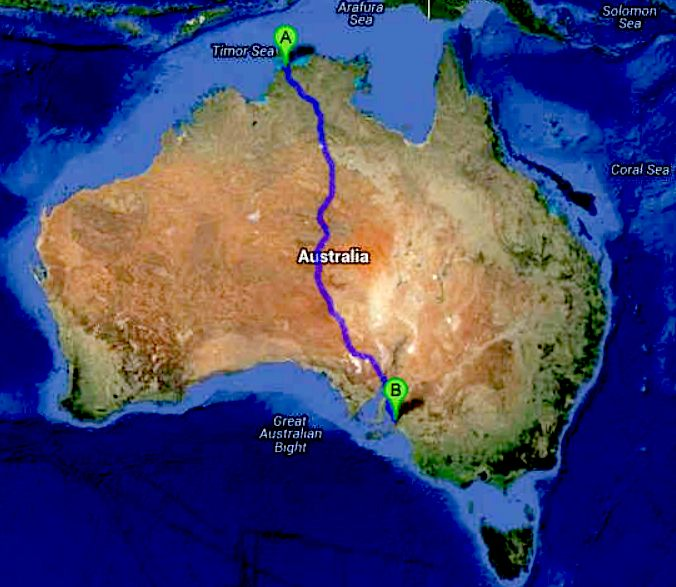 Australian ZEV Cannonball Run route map
