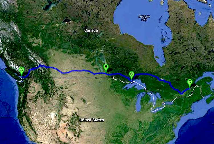 Trans-Canada Cannonball ZEV Run route map