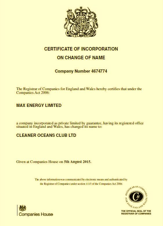 The Cleaner Oceans Club Ltd company certificate