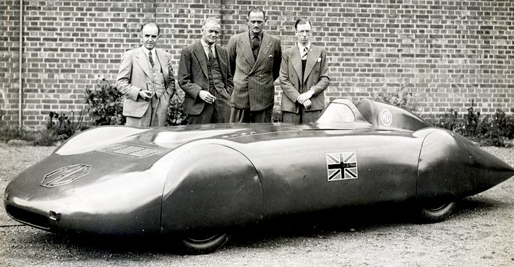 Lord Nuffield, Goldie Gardner and Reid Railton with the MG land speed record car