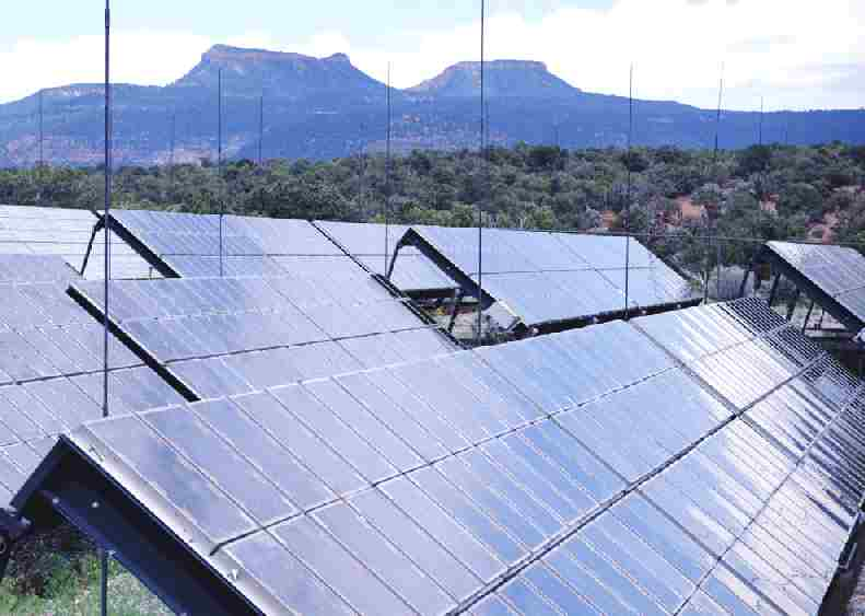 Solar panels at a solar farm generating clean electricity