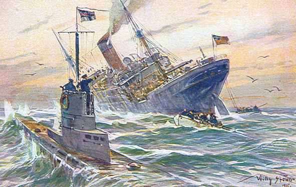 U boat sinking a cruiser, world war one