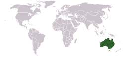 Location of Australia world map