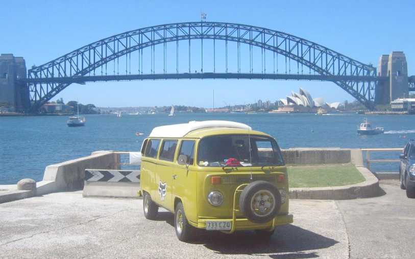 Vdub set against the famous Coathanger bridge, Sydney harbour, Australia