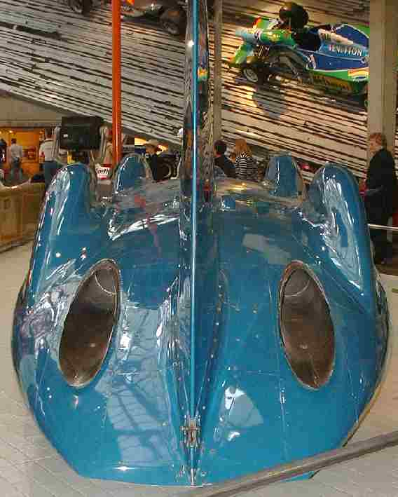 Bluebird CN7 jet car exhausts and tailfin