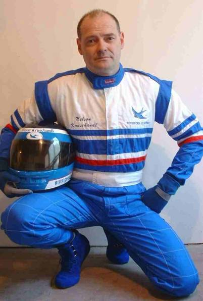 Nelson Kruschandl wearing protective racing suit