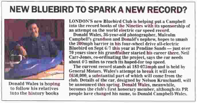 Autocar Article 1997 Don Wales Donald Campbell Club