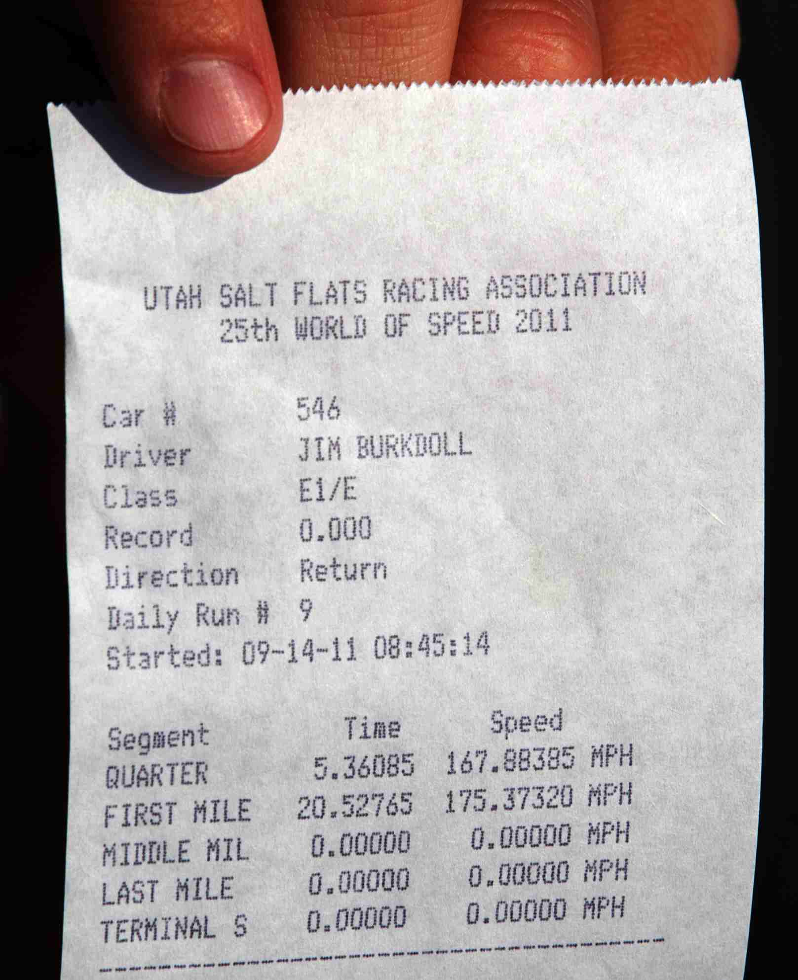 Utah salt flats racing association timing ticket for Electric Blue