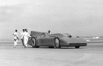 Cambell's 1935 Bluebird being pushed away on a run on Daytona beach, Florida.