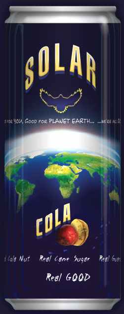 Solar Cola soft drink can trademark blue planet earth design