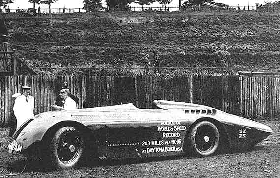 Sir Henry Segrave with his 1,000 horsepower Sunbeam