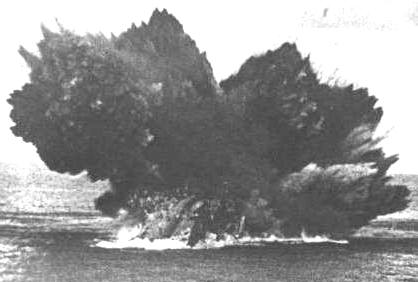 torpedo exploding sinking a ship