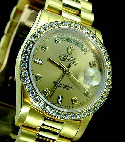 gold watch ret rolex date owned oyster preowned perpetual pre watches rose burrells